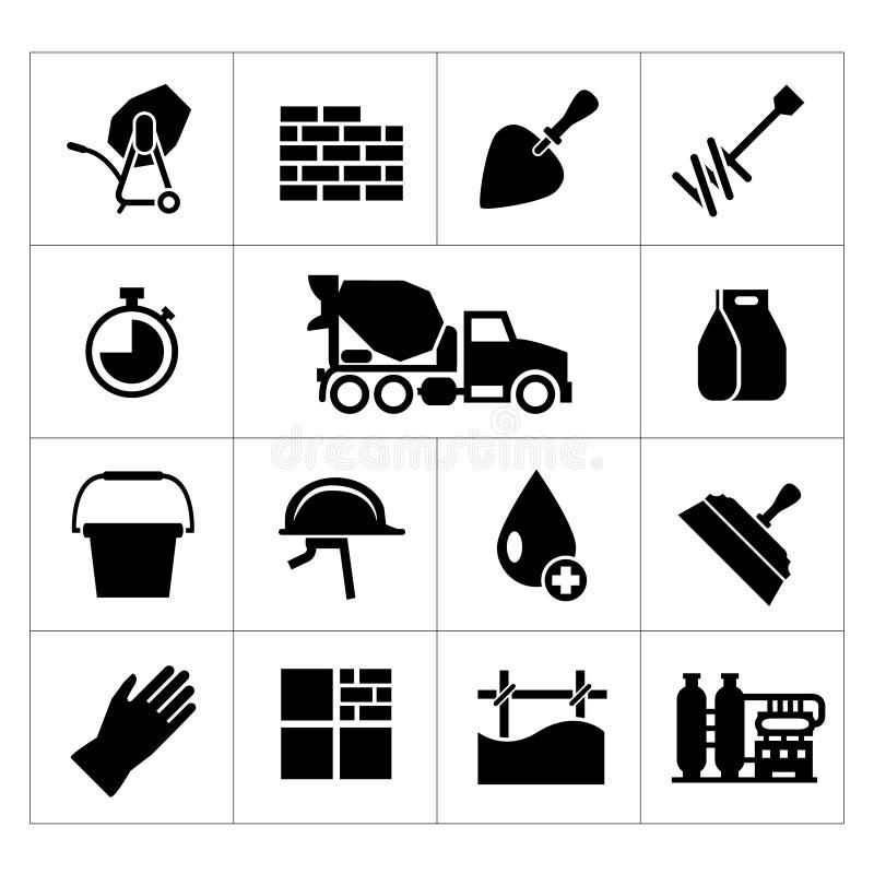 Placez les icônes du ciment et du béton illustration libre de droits