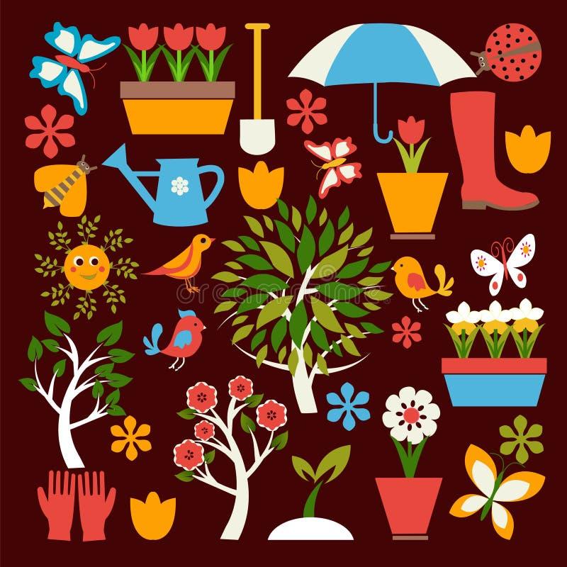 Placez les icônes du jardinage et le ressort a rapporté des articles illustration de vecteur