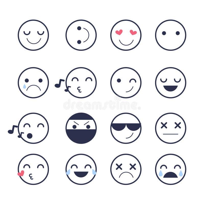 Placez les icônes souriantes pour des applications et la causerie Émoticônes avec différentes émotions d'isolement sur le fond bl illustration libre de droits