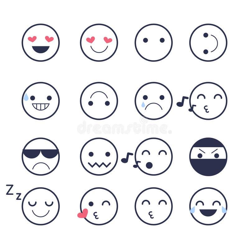 Placez les icônes souriantes pour des applications et la causerie Émoticônes avec différentes émotions d'isolement sur le fond bl illustration stock