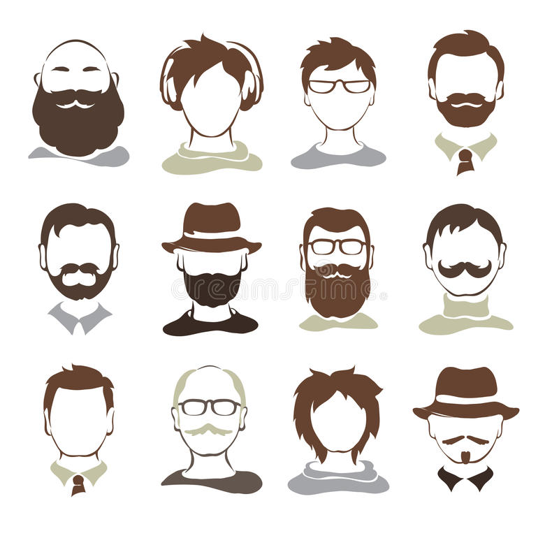 Placez les illustrations -- avatars masculins illustration de vecteur