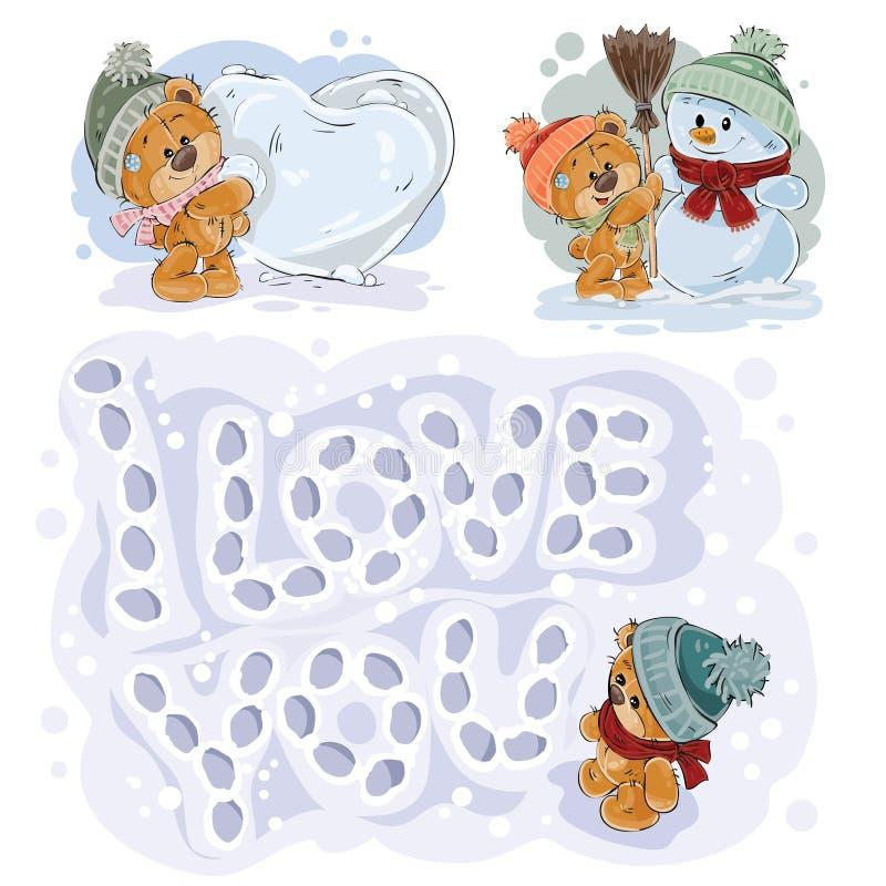 Placez les illustrations de clipart (images graphiques) de vecteur des ours de nounours drôles illustration libre de droits