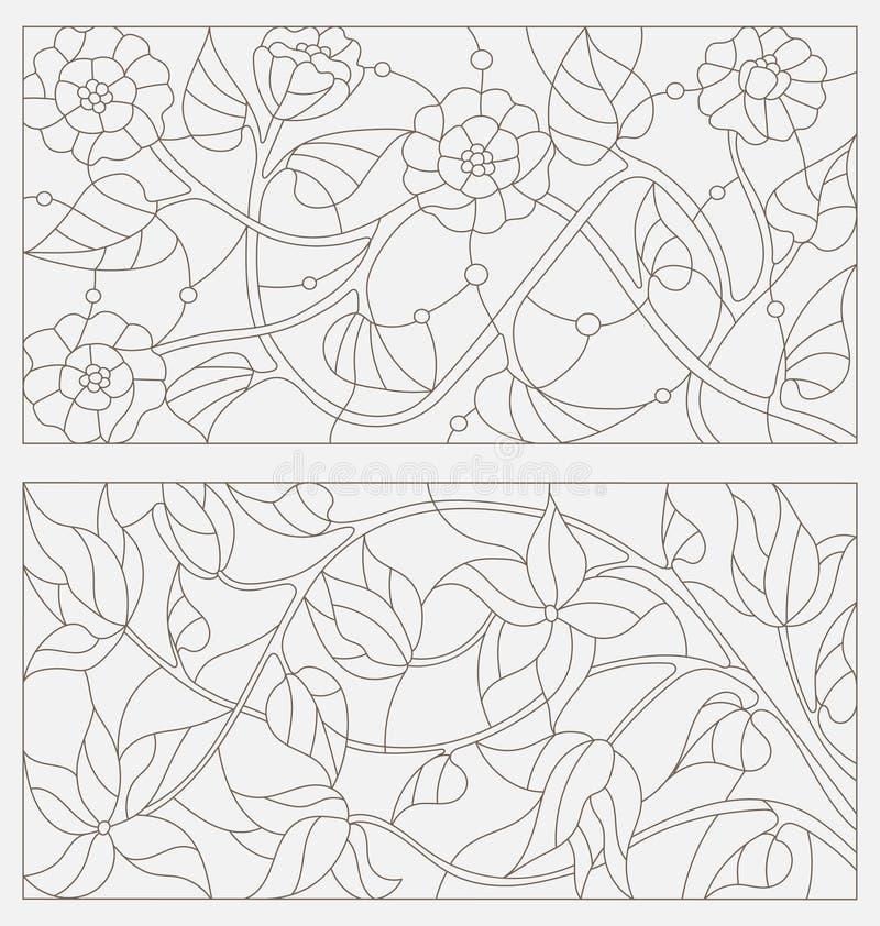 Placez les illustrations de découpe du verre souillé avec les fleurs abstraites illustration stock