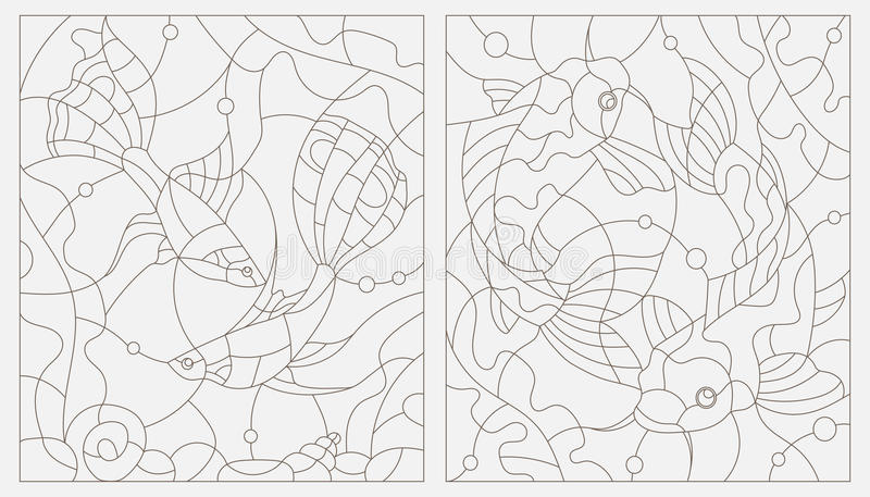 Placez les illustrations en verre souillé de découpe des poissons d'aquarium illustration de vecteur