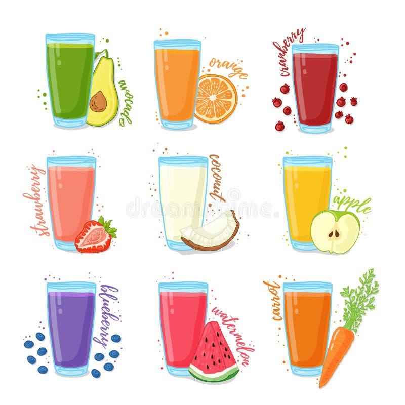 Placez les jus des fruits et légumes Collection d'illustrations des boissons pour une alimentation saine Jus des baies illustration libre de droits
