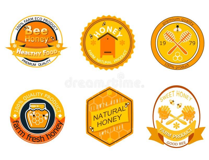 Placez les labels de logo d'abeille pour l'illustration saine douce naturelle de vecteur de nourriture de qualité du produit de f illustration stock