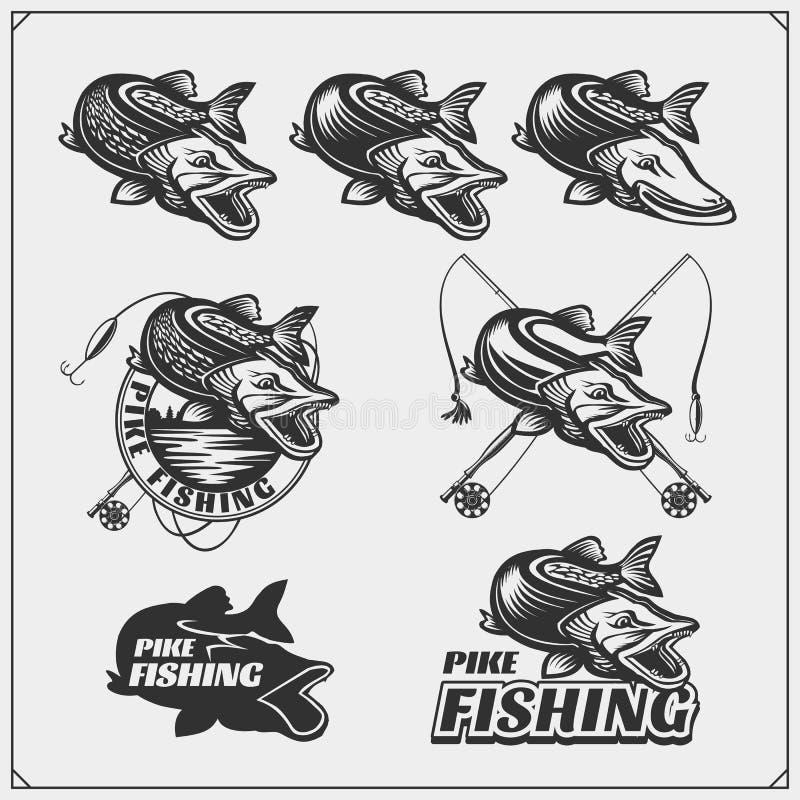 Placez les labels de pêche d'af avec un brochet et des articles de pêche Emblèmes de pêche et éléments de conception illustration stock