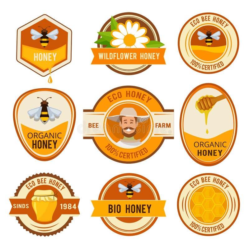 Placez les labels pour le miel Calibre de vecteur avec l'endroit pour votre texte illustration de vecteur