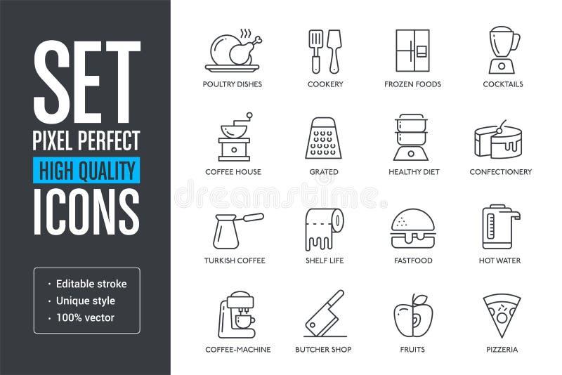 Placez les lignes de haute qualité parfaites icônes de pixel de vecteur illustration libre de droits
