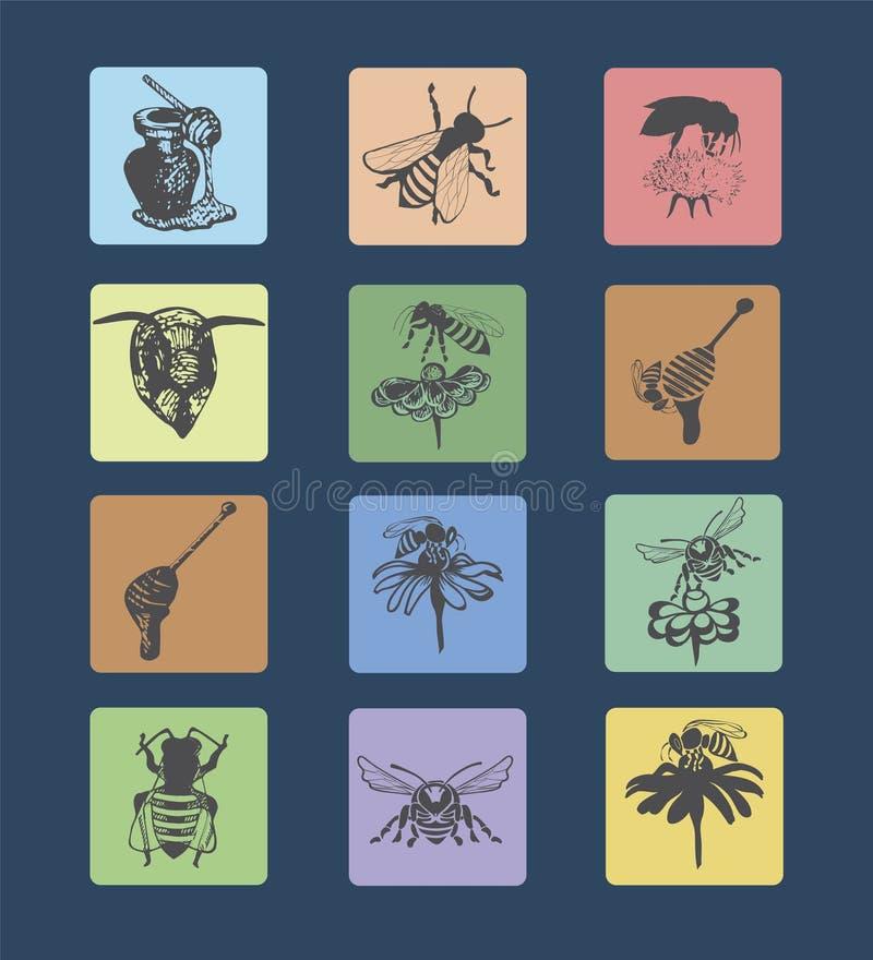 Placez les logos et les abeilles 2 de miel illustration stock