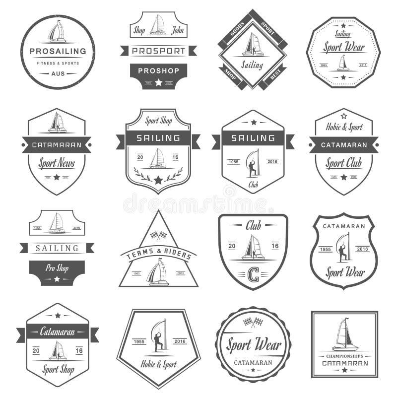 Placez les logos et les insignes de catamaran illustration de vecteur