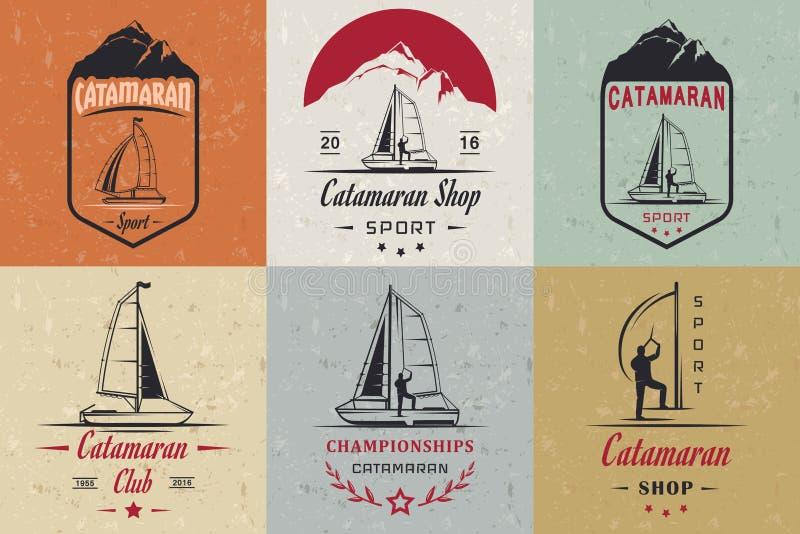 Placez les logos et les insignes de catamaran illustration libre de droits