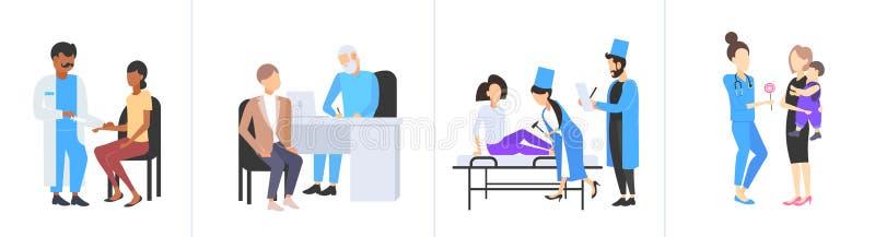 Placez les médecins examinant la collection différente de concepts de soins de santé de médecine de consultation médicale de pati illustration stock