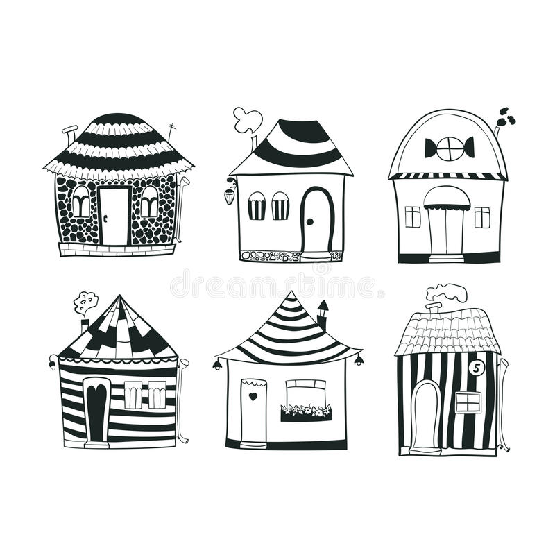 Placez les maisons noires et blanches d'ensemble de croquis dedans illustration libre de droits