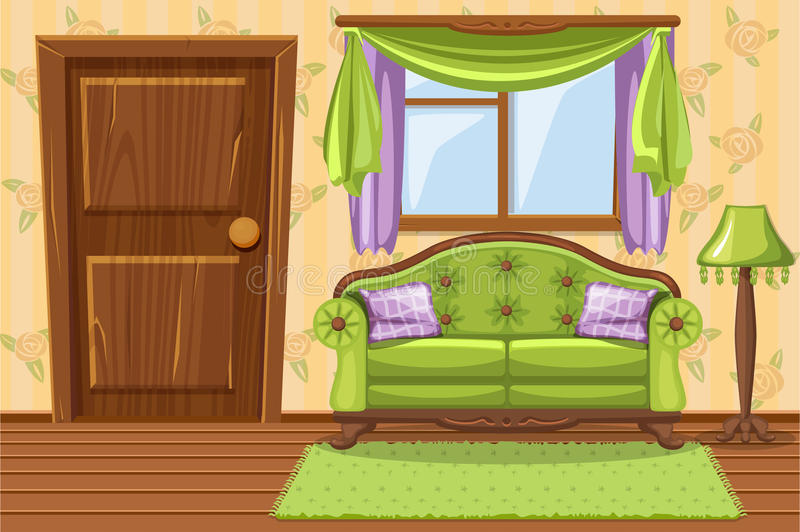 Placez les meubles amortis par vintage vert de bande dessinée, salon illustration stock