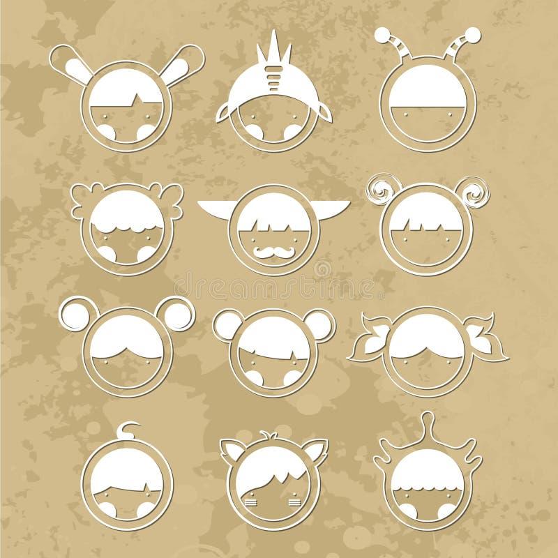 Placez les monstres mignons de bande dessinée Vecteur 10 image libre de droits