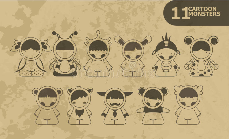 Placez les monstres mignons de bande dessinée Vecteur 10 photo libre de droits
