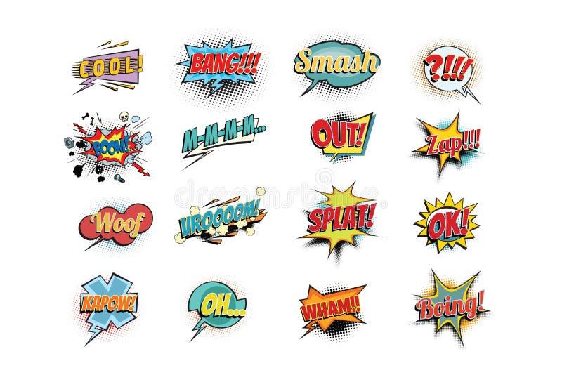 Placez les mots comiques d'expressions de collection illustration stock