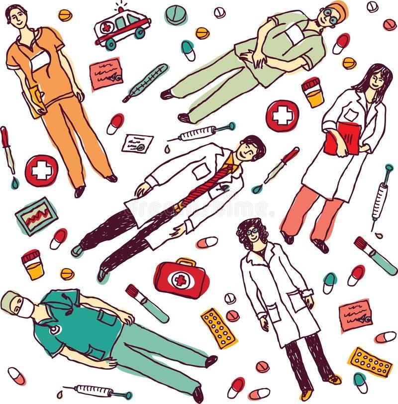 Placez les objets et les médecins médicaux d'isolement illustration libre de droits