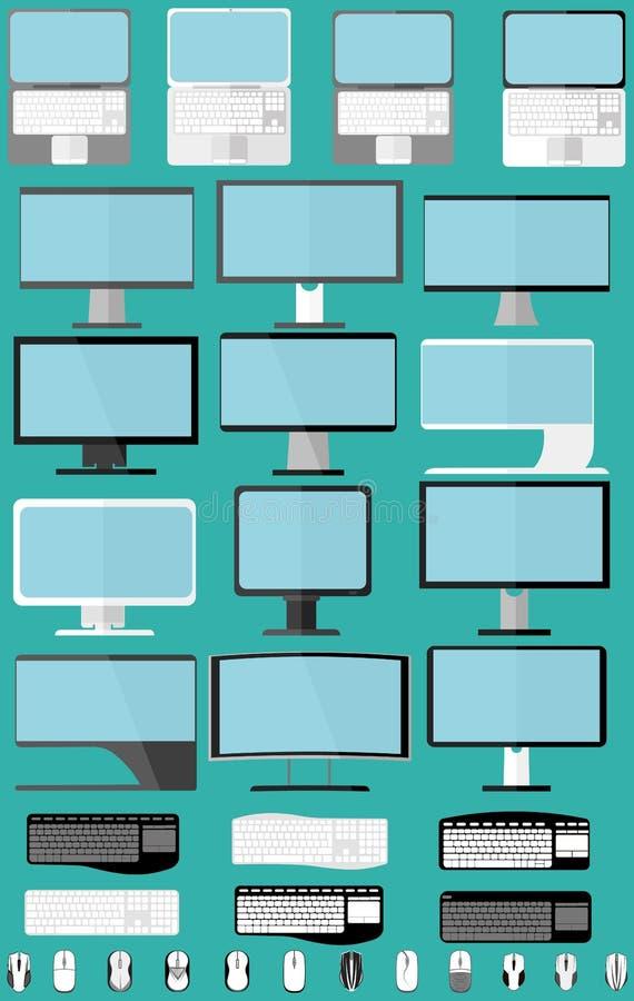 Placez les ordinateurs portables, les moniteurs et les souris photographie stock