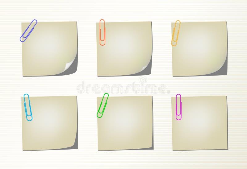 Placez les pages et les clips de bloc-notes de vecteur illustration stock