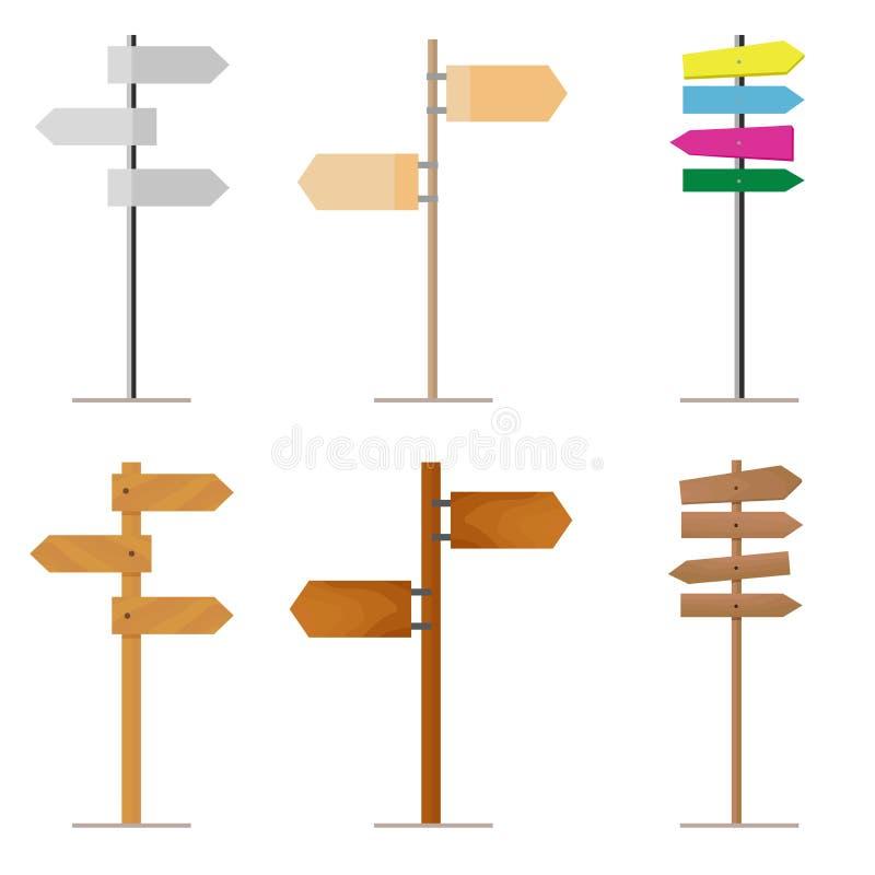 Placez les panneaux routiers faits de bois ou métal pour votre projet de conception D'isolement sur le blanc illustration stock