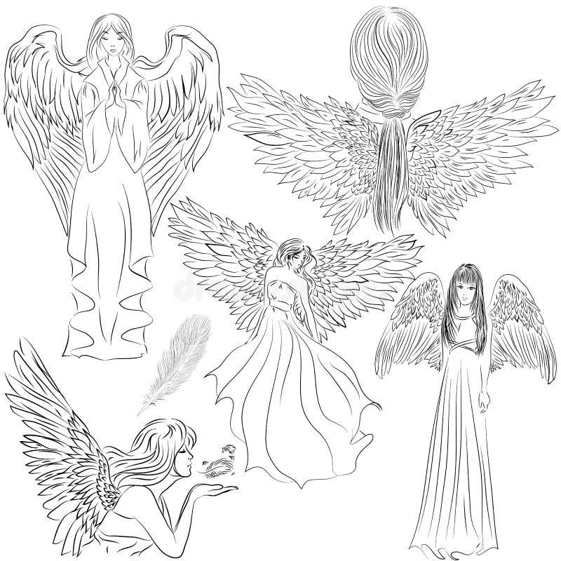 Placez les photos des anges dans un style de bande dessinée illustration stock