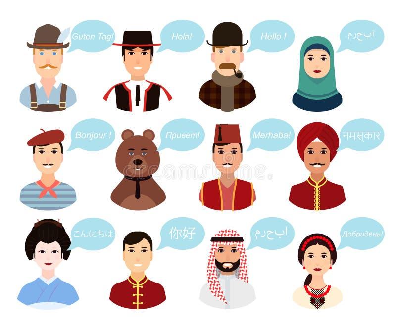 Placez - les portraits, avatars de bande dessinée des personnes de différents pays de nationalités de partout dans le monde dans  photographie stock