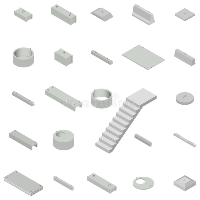Placez les produits concrets de fer isométriques, illustration de vecteur illustration libre de droits