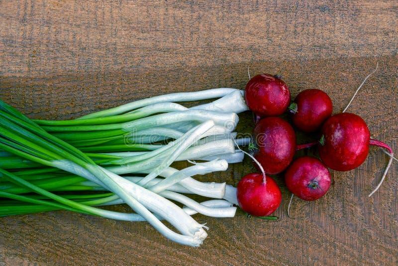 Placez les radis végétaux et les oignons verts sur un brun de conseil en bois photographie stock