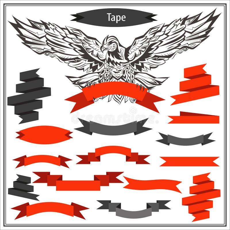Placez les rubans d'aigle dans la couleur noire et rouge illustration libre de droits