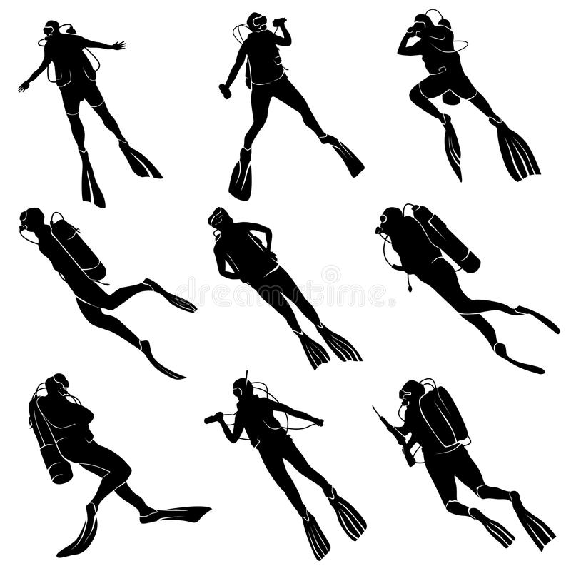 Placez les silhouettes des plongeurs illustration libre de droits