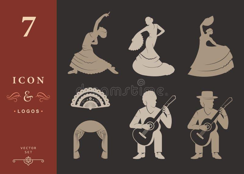 Placez les silhouettes et signez le flamenco illustration de vecteur