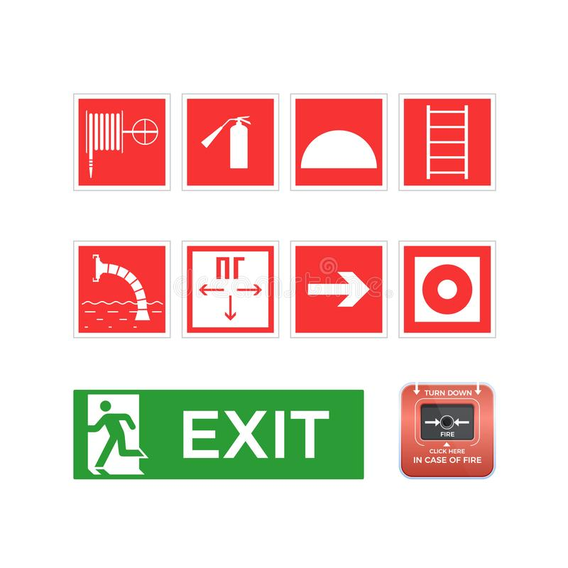 Placez les symboles, logos, icônes, tuyau, échelle, sortie de secours, bouton d'alarme illustration de vecteur