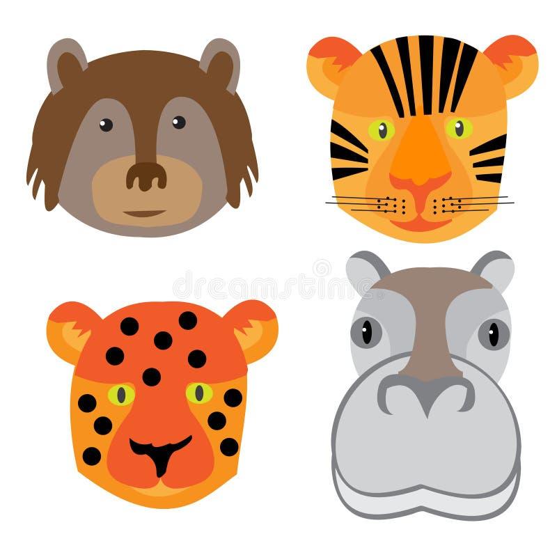 Placez les têtes des animaux dans le style de griffonnage sur le fond blanc illustration libre de droits