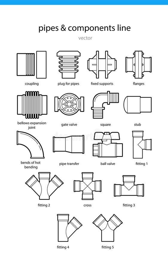 Placez les tuyaux et les composants d'icône illustration stock