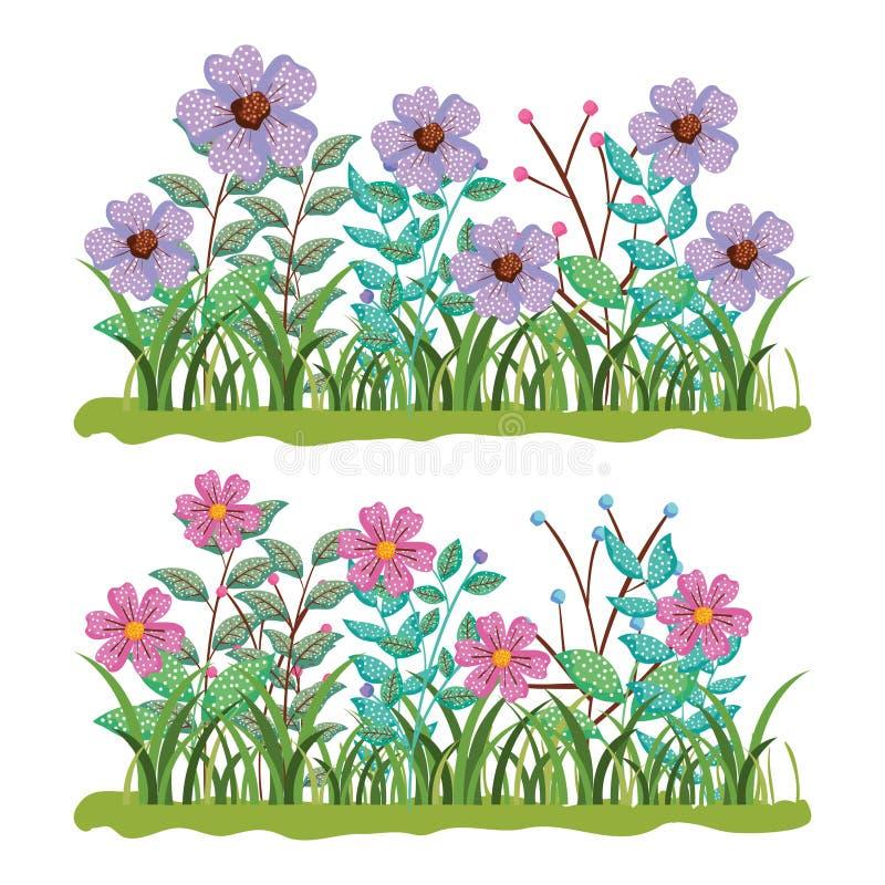 Placez les usines de fleurs de nature avec des feuilles de branches illustration de vecteur