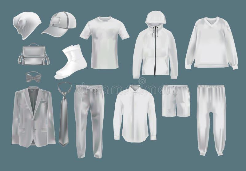 Placez les vêtements des hommes s de maquette La mode de calibre vêtx des maquettes de chapeau illustration de vecteur