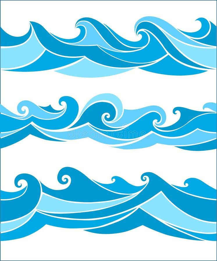Placez les vagues sans couture de vektor illustration de vecteur