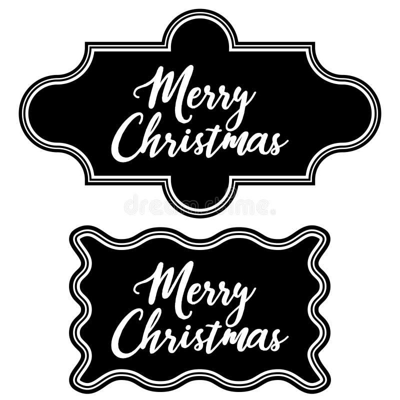 Placez Noël de tableau de cadre de vintage de salutation le Joyeux illustration stock