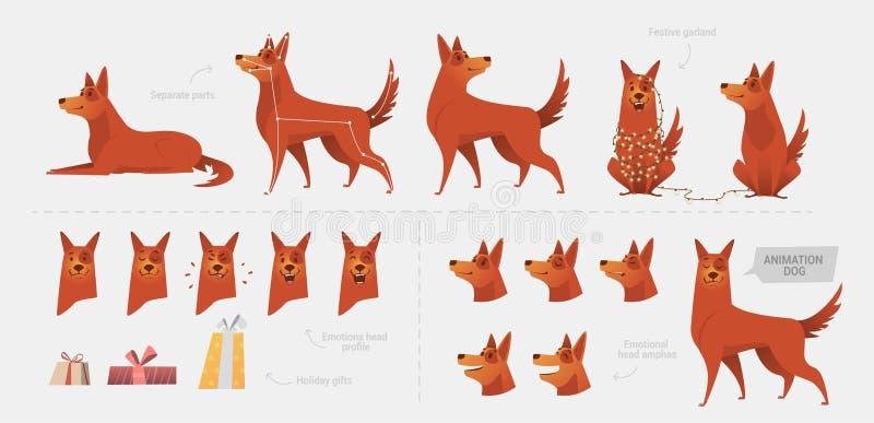 Placez pour créer une animation de chien des émotions illustration stock