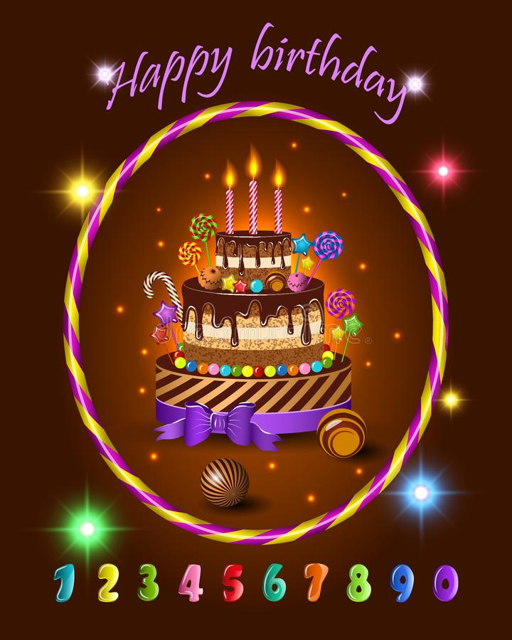 Placez pour la célébration d'anniversaire de bandes dessinées d'enfants, gâteau du ` s d'enfants et les bonbons, les sucreries, l illustration de vecteur