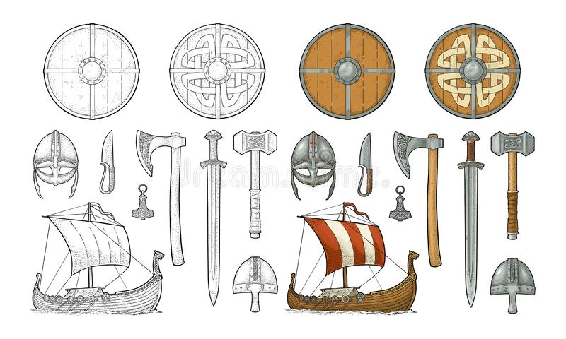 Placez Viking Couteau, drakkar, hache, casque, épée, marteau, amulette de thor illustration stock