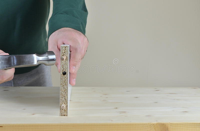 Placing Wooden Dowels royalty free stock photos