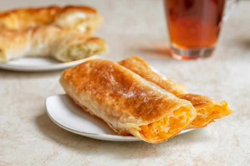 Placinta, traditional Moldovan pastries in cafe in Chisinau stock photo