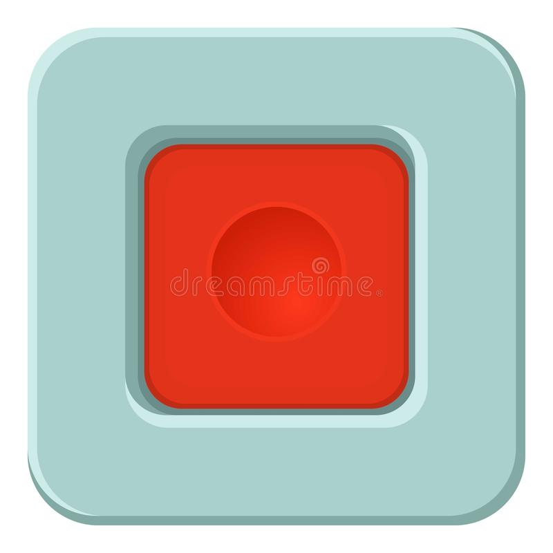 Placu Czerwonego guzika ikona, kreskówka styl royalty ilustracja
