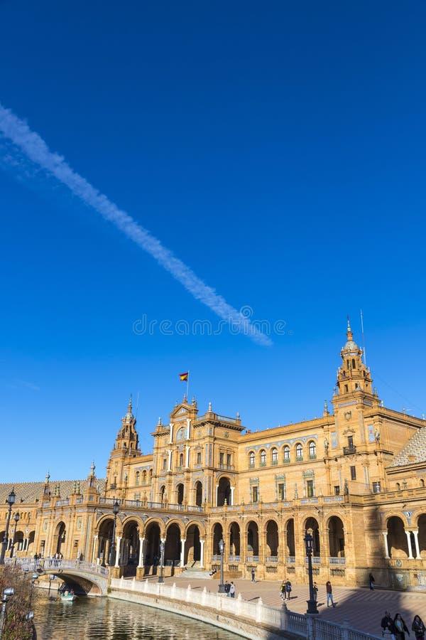 Placu De Espana Hiszpania kwadrat w Seville, Andalusia, Hiszpania fotografia stock
