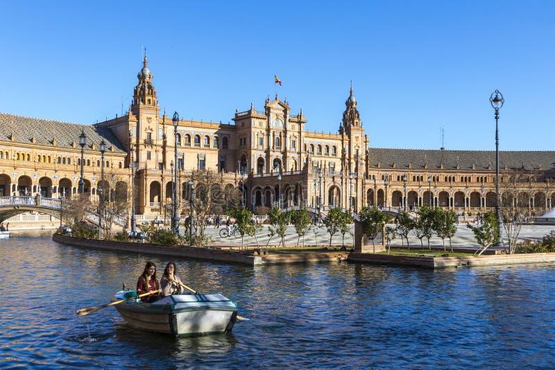 Placu De Espana Hiszpania kwadrat w Seville, Andalusia, Hiszpania obraz stock