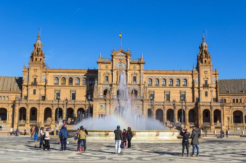 Placu De Espana Hiszpania kwadrat w Seville, Andalusia, Hiszpania zdjęcie royalty free