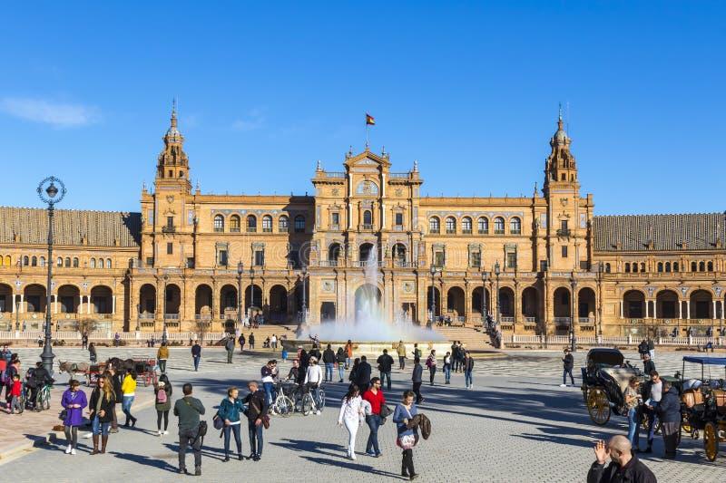 Placu De Espana Hiszpania kwadrat w Seville, Andalusia, Hiszpania fotografia royalty free